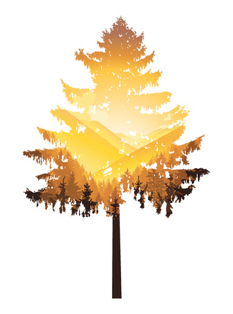 Natural silhouette of coniferous tree with panorama of mountains.Yellow tones. Autumn.