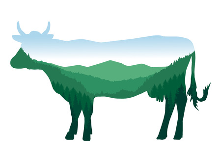 Image silhouette of cow with mountain landscape. Valley.