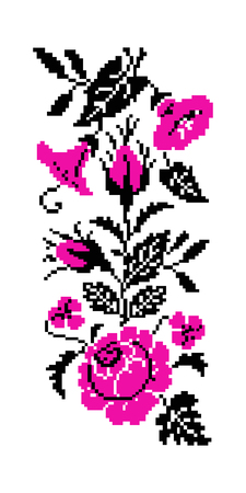 Color bouquet of flowers (roses, bellflowers and pansies) using traditional Ukrainian embroidery elements. Pink and black tones. Border  pattern. Can be used as pixel-art.
