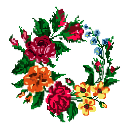 Wallpapers or textile. Color circle  bouquet of flowers (roses, chamomile and cornflowers) using traditional Ukrainian embroidery elements.  Can be used as pixel-art.
