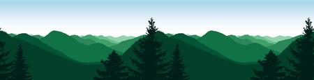 Panorama of mountains. Natural tones. Seamless rocks. Ilustração