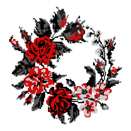 pixelart: Wallpapers or textile. Circle  bouquet of flowers (roses, chamomile and cornflowers)  using traditional Ukrainian embroidery elements. Red and grey tones. Can be used as pixel-art. Illustration