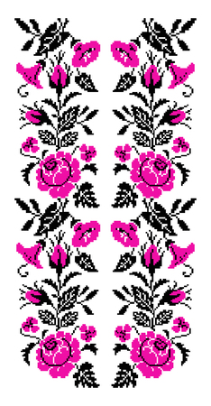 Color bouquet of flowers (roses, bellflowers and pansies) using traditional Ukrainian embroidery elements. Pink and black tones. Seamless  pattern. Can be used as pixel-art. Illustration