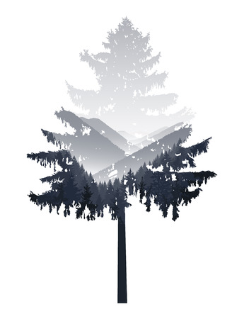 Silhouette of coniferous tree with panorama of mountains. Black and white tones. Sunset. Mist.