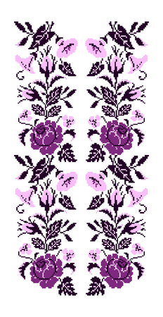 Color  bouquet of flowers (roses, bellflowers and pansies) using traditional Ukrainian embroidery elements. Violet and pink tones. Seamless pattern. Can be used as pixel-art. Illustration