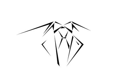 Image business man suit outlines emblem.