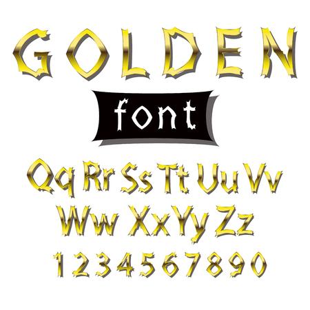 Fuente dorada. Colección de símbolos y figuras del alfabeto.