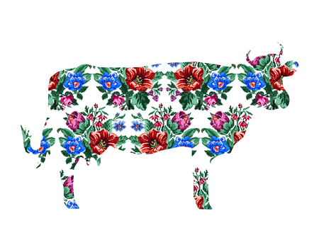 Silhouette of cow with color bouquet of wildflowers (lilia, bellflower, barberry flower and cornflowers)  using traditional Ukrainian embroidery elements.