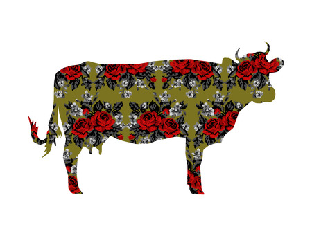 Silhouette of cow with color bouquet of flowers (roses and cornflowers)  on the green background using traditional Ukrainian embroidery elements.