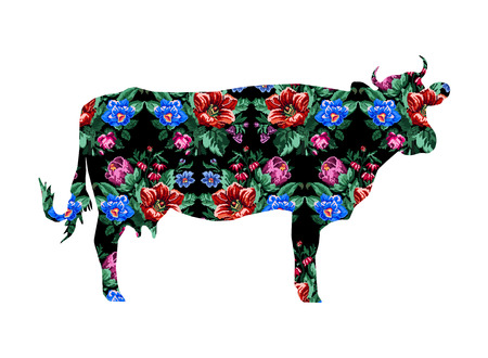 Silhouette of cow with color bouquet of wildflowers (lilia, bellflower, barberry flower and cornflowers)  on the black background using traditional Ukrainian embroidery elements.