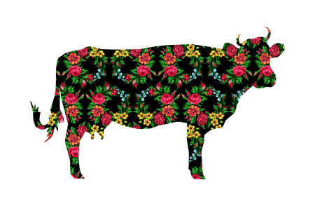 ukrainian traditional: Silhouette of cow with color circle  bouquet of flowers (roses, chamomile and cornflowers) on the black background using traditional Ukrainian embroidery elements.