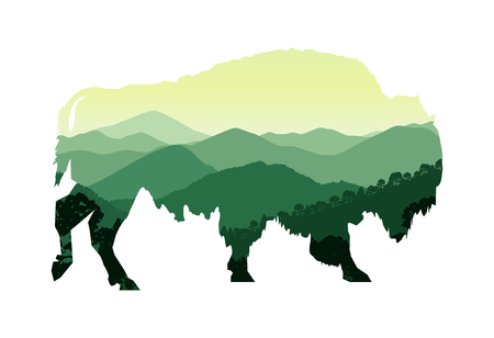 lactic: Silhouette of bison with mountain hills.