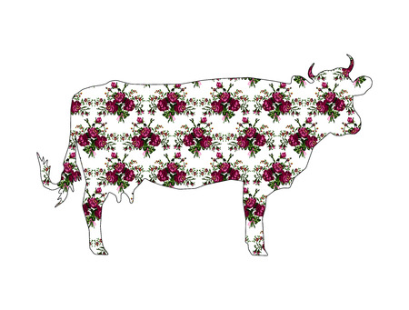 Silhouette of cow with color bouquet of flowers (roses and cornflowers) in violet and green tones using traditional Ukrainian embroidery elements.