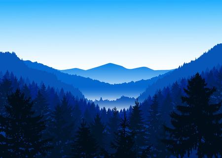 Panorama des montagnes. Vallée (canyon). Trois pics. Nuances de bleu. Hiver.