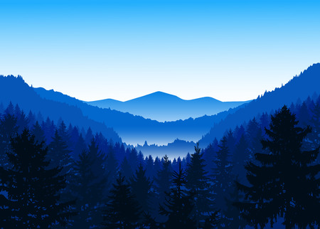 Panorama of mountains. Valley(canyon). Three peaks. Blue shades. Winter. Illustration