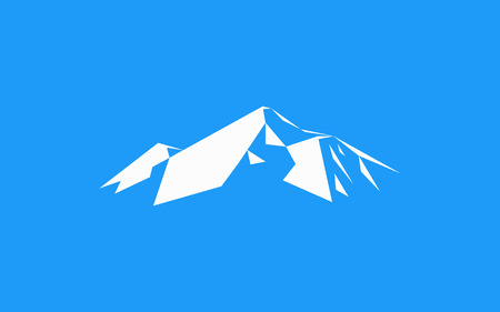 Snow mountains peak (Everest) logo. Can be used as sports badge, emblem of mineral water, tourism banner, travel icon, sign, decor... Blue background.