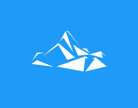 Mountains peak (Everest) logo.  Triangles art. Can be used as sports badge, emblem of mineral water, tourism banner, travel icon, sign, decor...  Blue background. Illustration