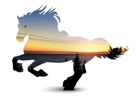 Silhouette of horse with coniferous trees, sea horizon and colorful sky.