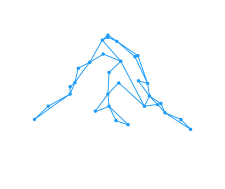 matterhorn: Mountains peak (Matterhorn). Lines and points. Can be used as sports badge, emblem of mineral water, tourism banner, travel icon, sign, decor...