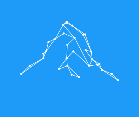 matterhorn: Mountains peak (Matterhorn) logo. Lines and points. Can be used as sports badge, emblem of mineral water, tourism banner, travel icon, sign... Blue background. Illustration