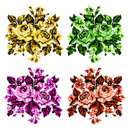 pixelart: Color bouquet of flowers (roses and cornflowers) in red,yellow,green and pink tones using traditional Ukrainian embroidery elements.  Can be used as pixel-art, card, emblem, icon. Yellow and green tones. Illustration