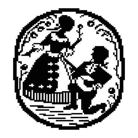 pixelart: Circle ethnic emblem using traditional embroidery elements. Vintage style. Can be used as pixel-art. Black and white tones.
