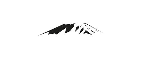Image snow mountains peak (Kilimanjaro) logo.  Black and white tones. Illustration