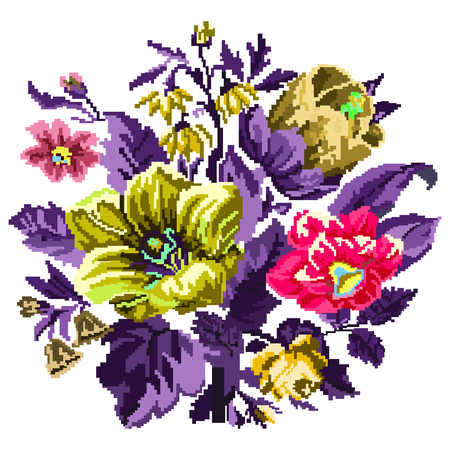 Color bouquet of wildflowers (lilia, bellflower, barberry flower and cornflowers)  using traditional Ukrainian embroidery elements. Can be used as pixel-art.  Violet and Yellow tones. Illustration