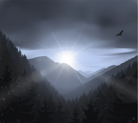 eagle canyon: Nature background of mountains panorama. Evening in wild valley. Illustration