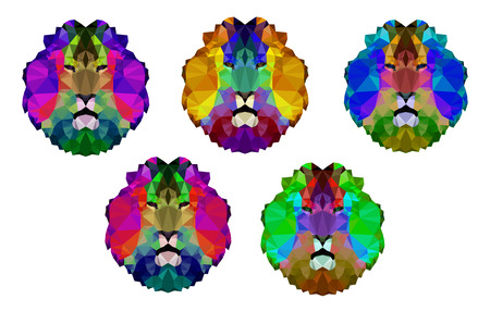 royal safari: Set. Logo illustrations of many triangles. Abstract colorful heads of lion. Can be used as emblem, sign, banner, sticker ...