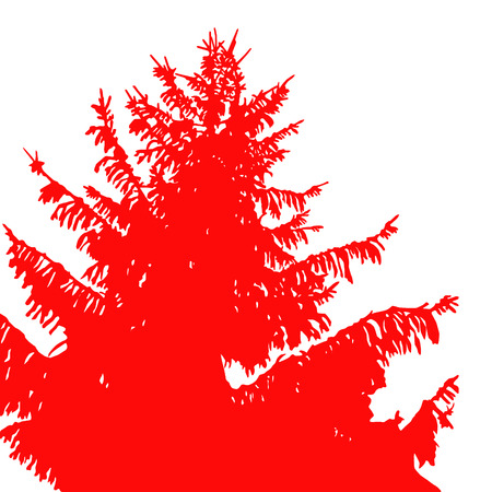 coniferous forest: Silhouette of pine tree. View from below. Red tone. Vectores