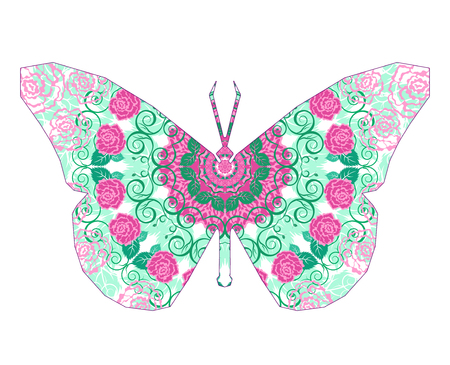 Silhouette of butterfly with circular ornament.  Mandala art. Pink and green tones.