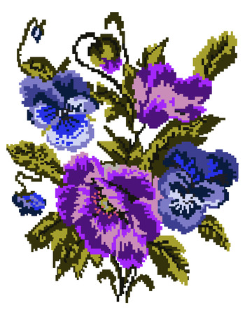 Bouquet of flowers (poppies and pansies) using traditional Ukrainian embroidery elements. Can be used as pixel-art. Violet, blue, green  tones. Illustration