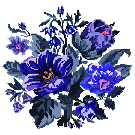ukrainian traditional: Color bouquet of wildflowers (lilia, bellflower, barberry flower and cornflowers)  using traditional Ukrainian embroidery elements. Can be used as pixel-art.  Blue tones. Illustration