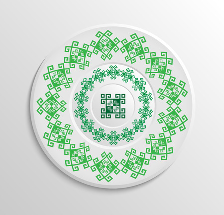 appointments: Table appointments in restaurant.. Decorative plate with round ethnic ornament. Ukrainian style.  Ancient green pattern. Illustration