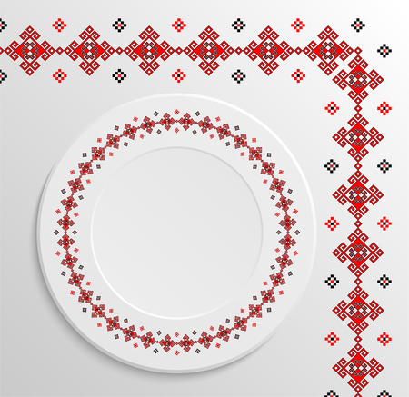 appointments: Table appointments in restaurant.. Decorative plate with round ethnic ornament. Ukrainian style.  National pattern. Vintage pattern of napkin.