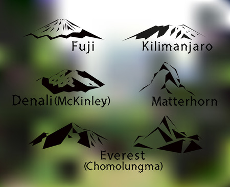 Blurred background with set of five mountains peaks of world. Matterhorn. Kilimanjaro. Fuji. Denali. Everest. Illustration