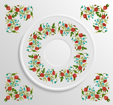 appointments: Table appointments in restaurant.. Decorative plate with round ethnic ornament. Ukrainian style.  Floral poppies pattern. Vintage background of napkin.