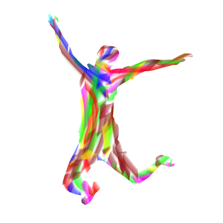 Colorful silhouette of man getting up knees. Abstract letter X.