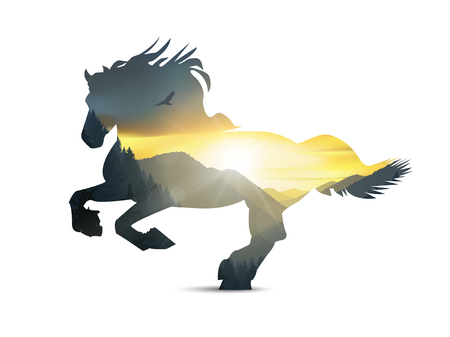 eagle canyon: Silhouette of running horse with mountains panorama. Colorful sunset in wild valley. Illustration