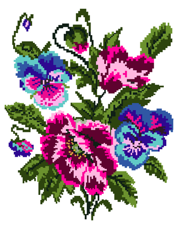 Color  bouquet of flowers (poppies and pansies) using traditional Ukrainian embroidery elements. Can be used as pixel-art. Illustration