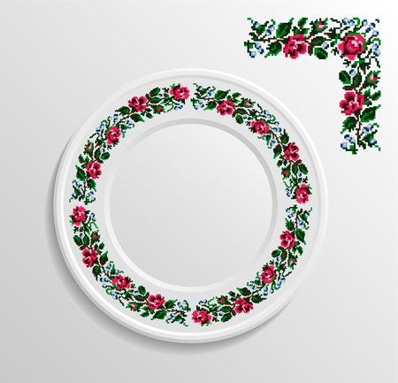 appointments: Table appointments in restaurant.. Decorative plate with round ethnic ornament. Ukrainian style.  Floral  pattern. Vintage pattern of napkin. Illustration