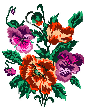 pixelart: Color  bouquet of flowers (poppies and pansies) using traditional Ukrainian embroidery elements. Can be used as pixel-art. Illustration
