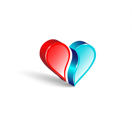 comparing: Logo 3d emblem. Two comparing parts of heart. Colorful design.