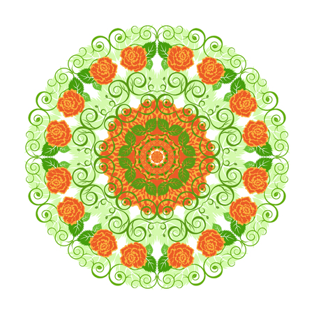 Circular floral lace pattern. Vintage style. Can be used for invitation, menu, card design, for pillow design, banners, signs and others. Orange and green tones. Illustration