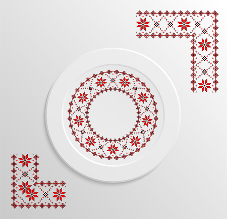 appointments: Table appointments in restaurant.. Decorative plate with round ethnic ornament. Ukrainian style.  Folk pattern. Vintage pattern of napkin.