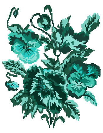 pixelart: Bouquet of flowers (poppies and pansies) using traditional Ukrainian embroidery elements. Can be used as pixel-art. Turquoise tones.