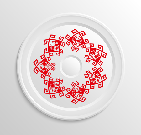 appointments: Table appointments in restaurant. Decorative plate with round ethnic ornament.  Antique red pattern. Illustration