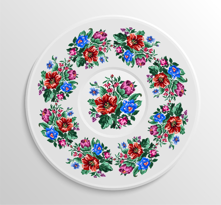 appointments: Table appointments in restaurant.. Decorative plate with round ethnic ornament. Ukrainian style. Vintage floral pattern. Illustration