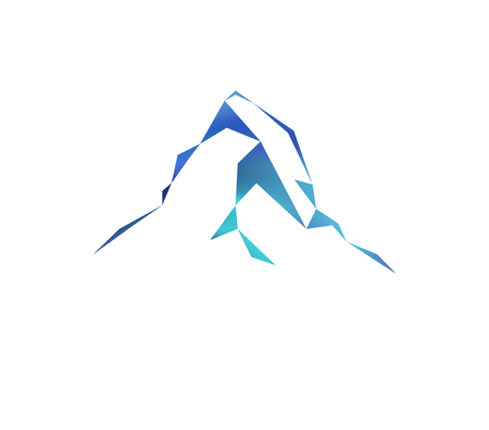 Snow mountains peak (Matterhorn) logo. Can be used as sports badge, emblem of mineral water, tourism banner, travel icon, sign, decor...